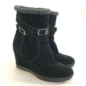 Aquatalia by Marvin K black suede fur lined boots
